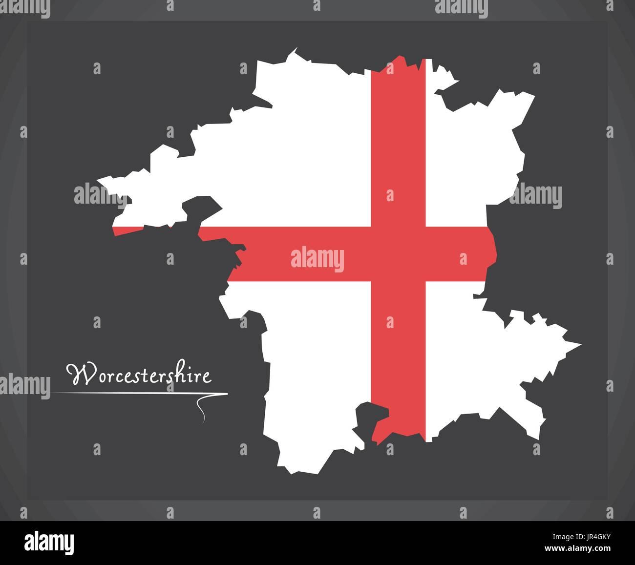 Worcestershire Map England Uk With English National Flag
