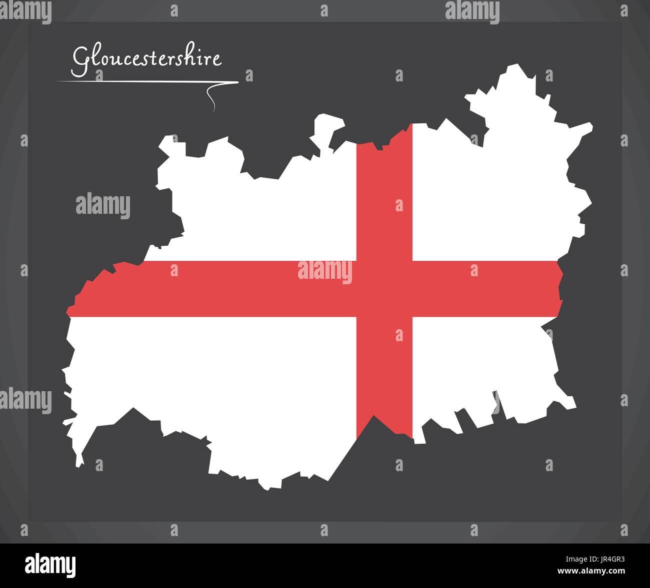 Gloucestershire map England UK with English national flag illustration - Stock Vector