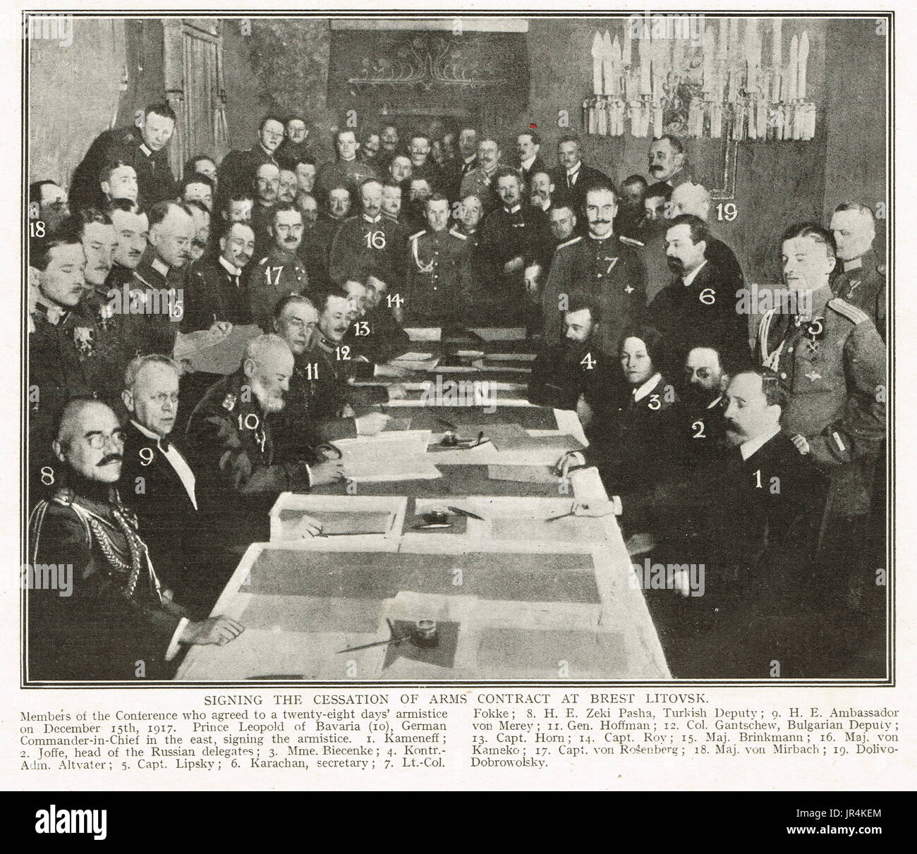 Signing the Treaty of Brest Litovsk 3 March 1918 - Stock Image