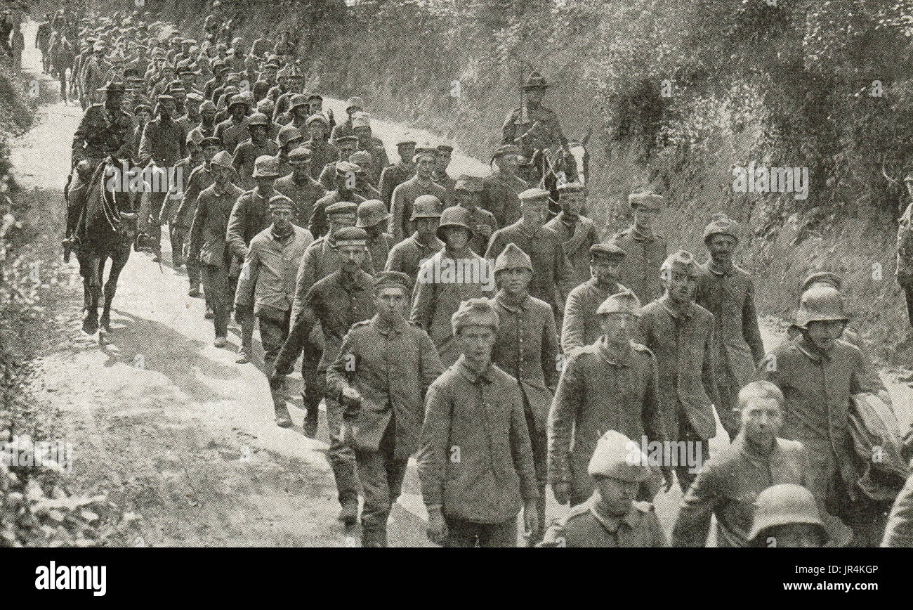 German soldiers captured at Hill 70, WW1 - Stock Image