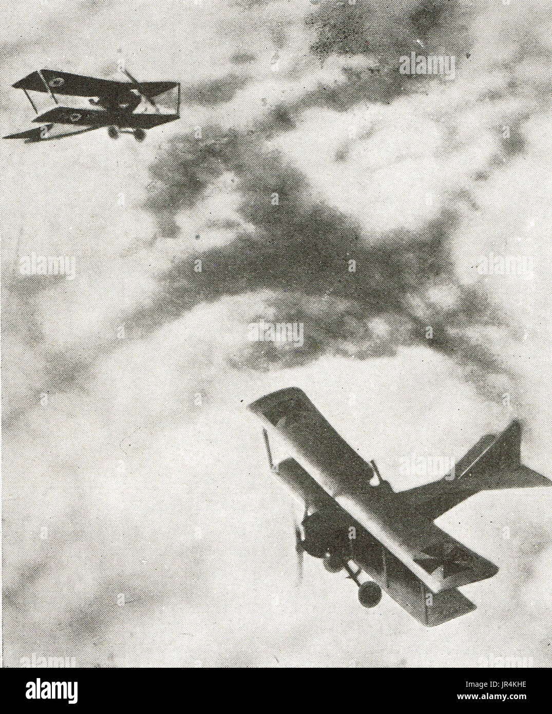 French bi plane & German Albatross dogfight - Stock Image