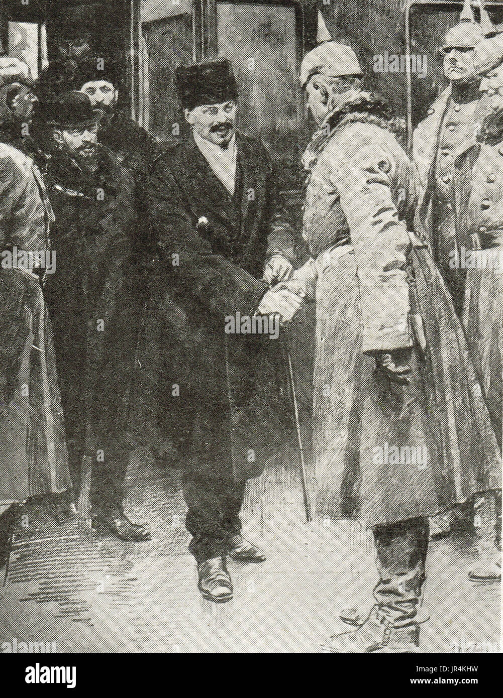 Arrival of Trotsky at Brest Litovsk, January 1918 - Stock Image