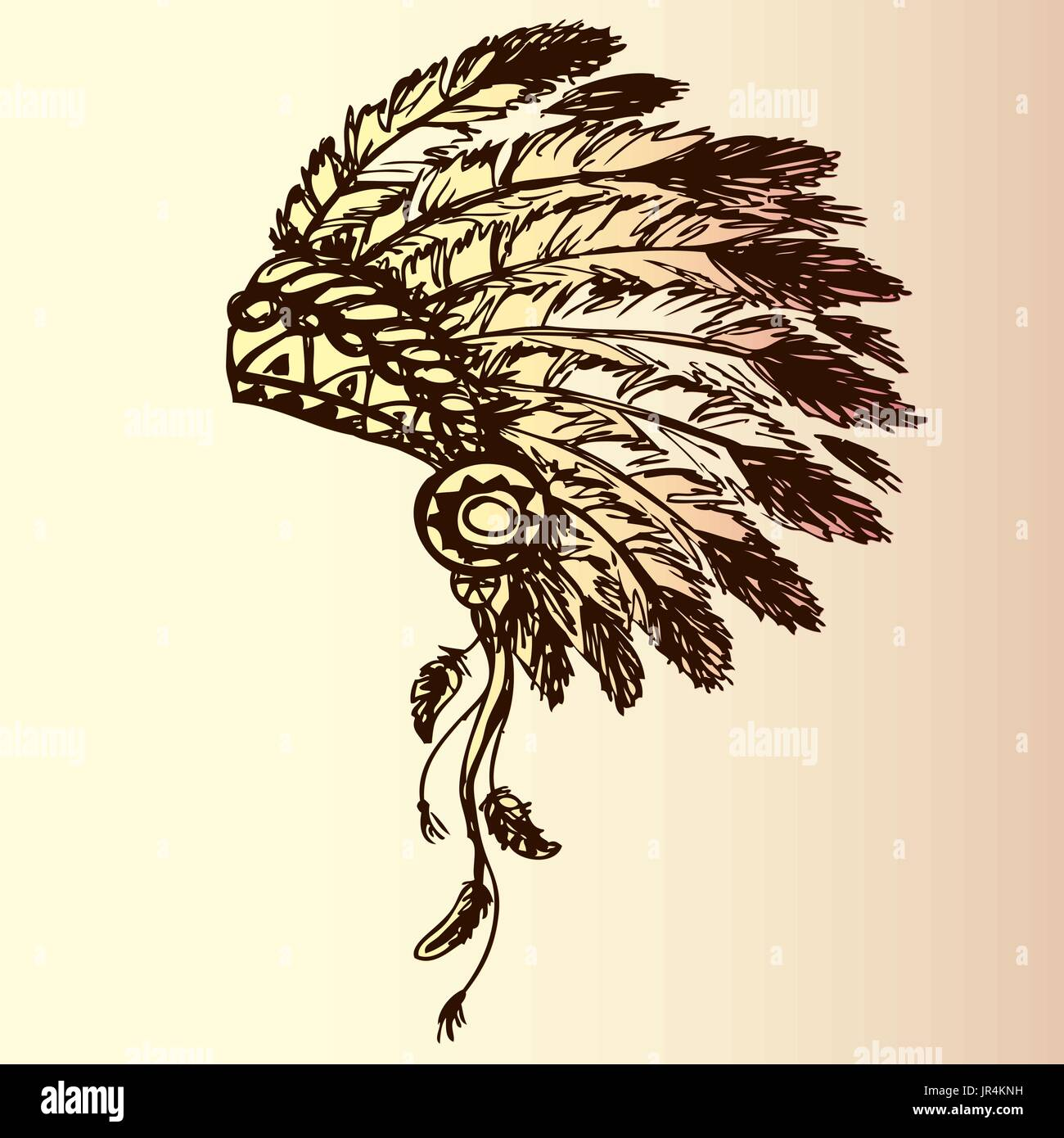 native american indian chief headdress (indian chief mascot, indian tribal headdress, indian headdress), hand drawing, vector - Stock Image