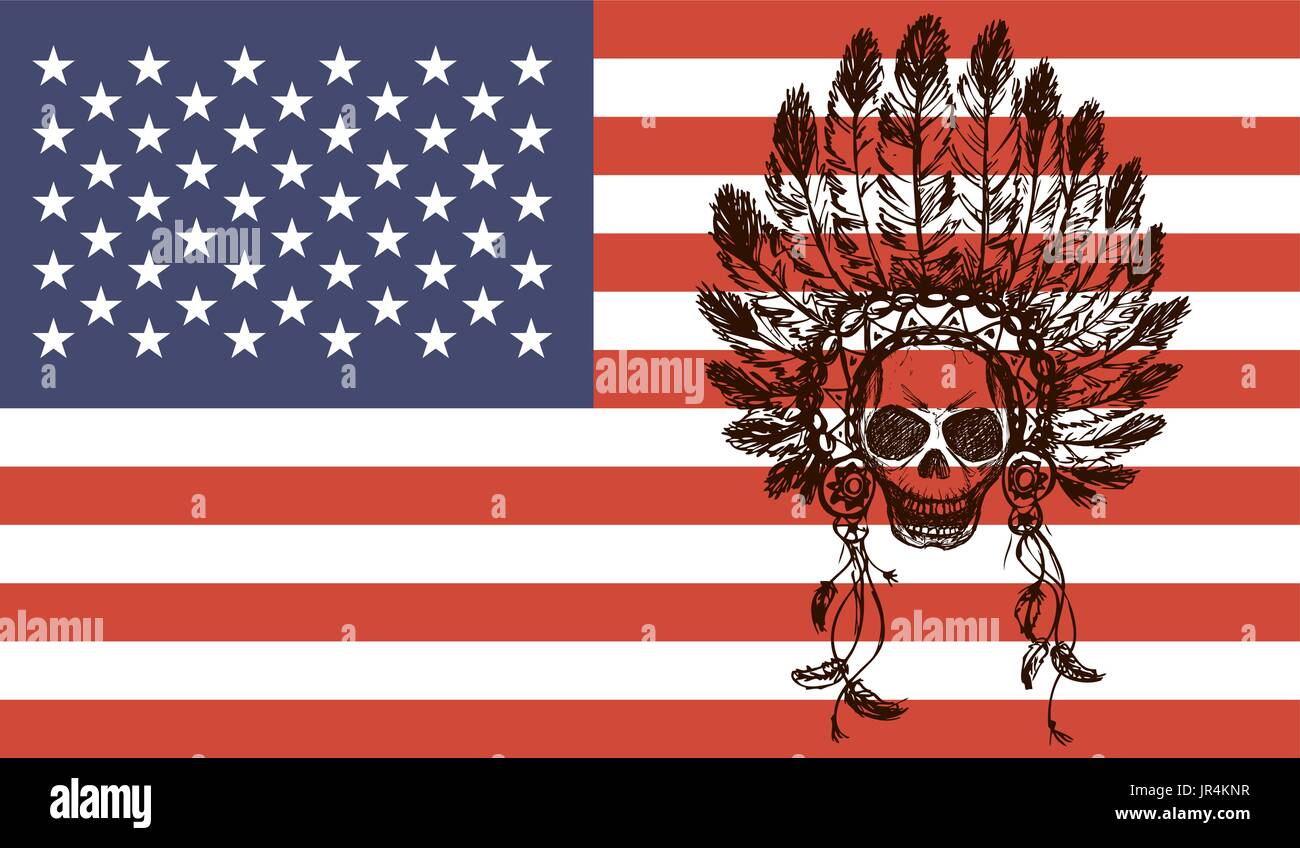 native american indian chief headdress  on usa flag background(indian chief mascot, indian tribal headdress, indian headdress) t-shirt graphics, hand  - Stock Image