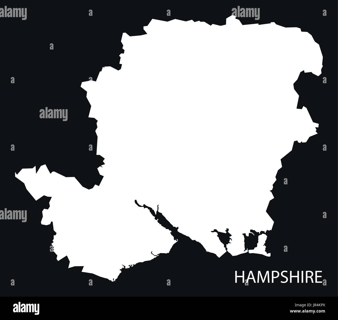 Map Of Uk Hampshire.Hampshire England Uk Map Black Inverted Silhouette Illustration
