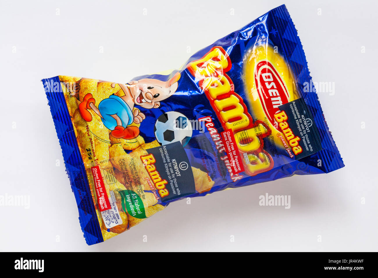 Packet of Osem Bamba peanut snack, Gluten free for Passover acceptable for use by those who consume Kitniyot on Passover, isolated on white background - Stock Image