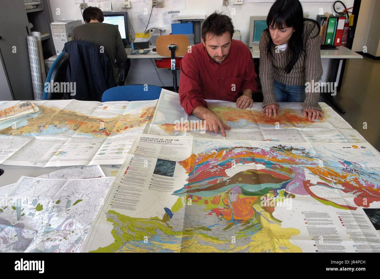 Milan Bicocca University (Italy), department of Environmental Sciences, laboratories of digital cartography. - Stock Image