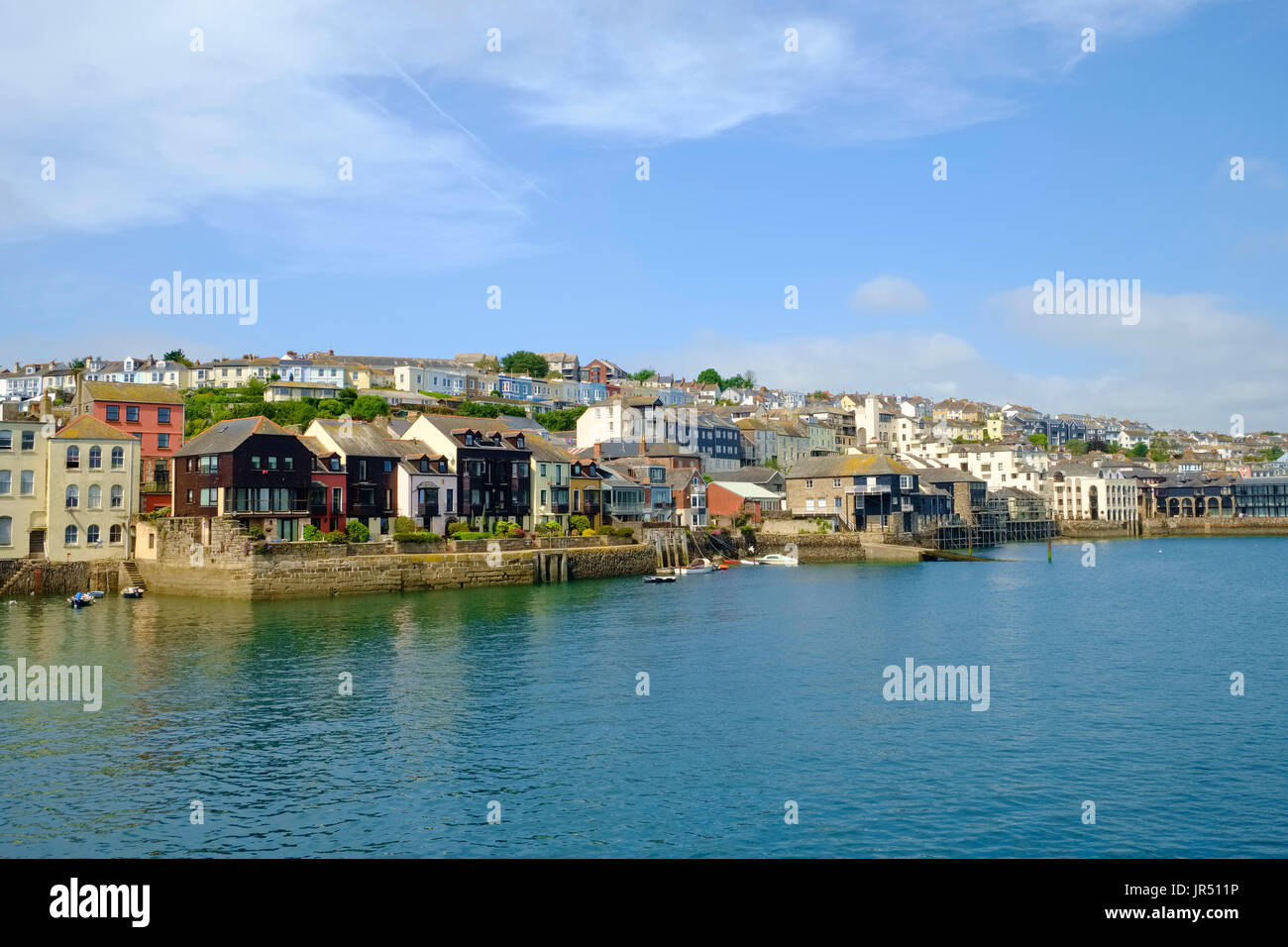 Falmouth, Cornwall - town waterfront houses at Packet Quays and harbour estuary UK Stock Photo