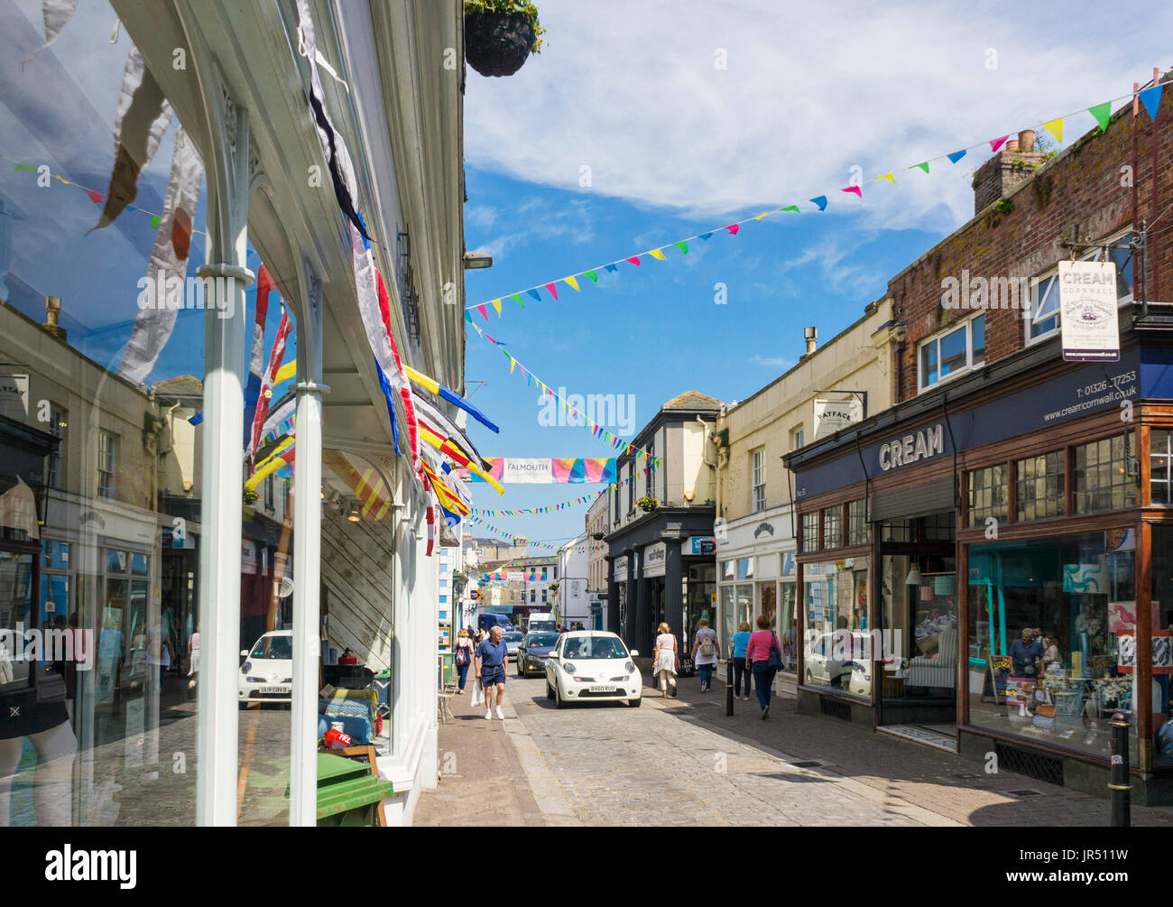 Falmouth Cornwall UK, town centre high street with shops - Stock Image