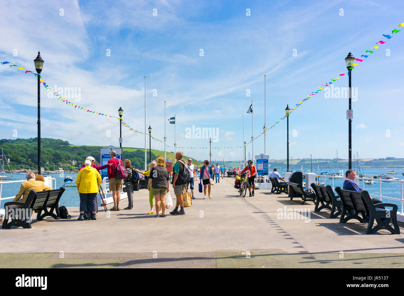 Falmouth pier, Cornwall in summer with tourists - Stock Image