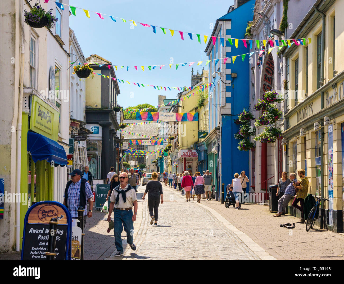 High street uk - Falmouth town centre with people shopping in the summer, Falmouth, Cornwall, Westcountry, UK - Stock Image