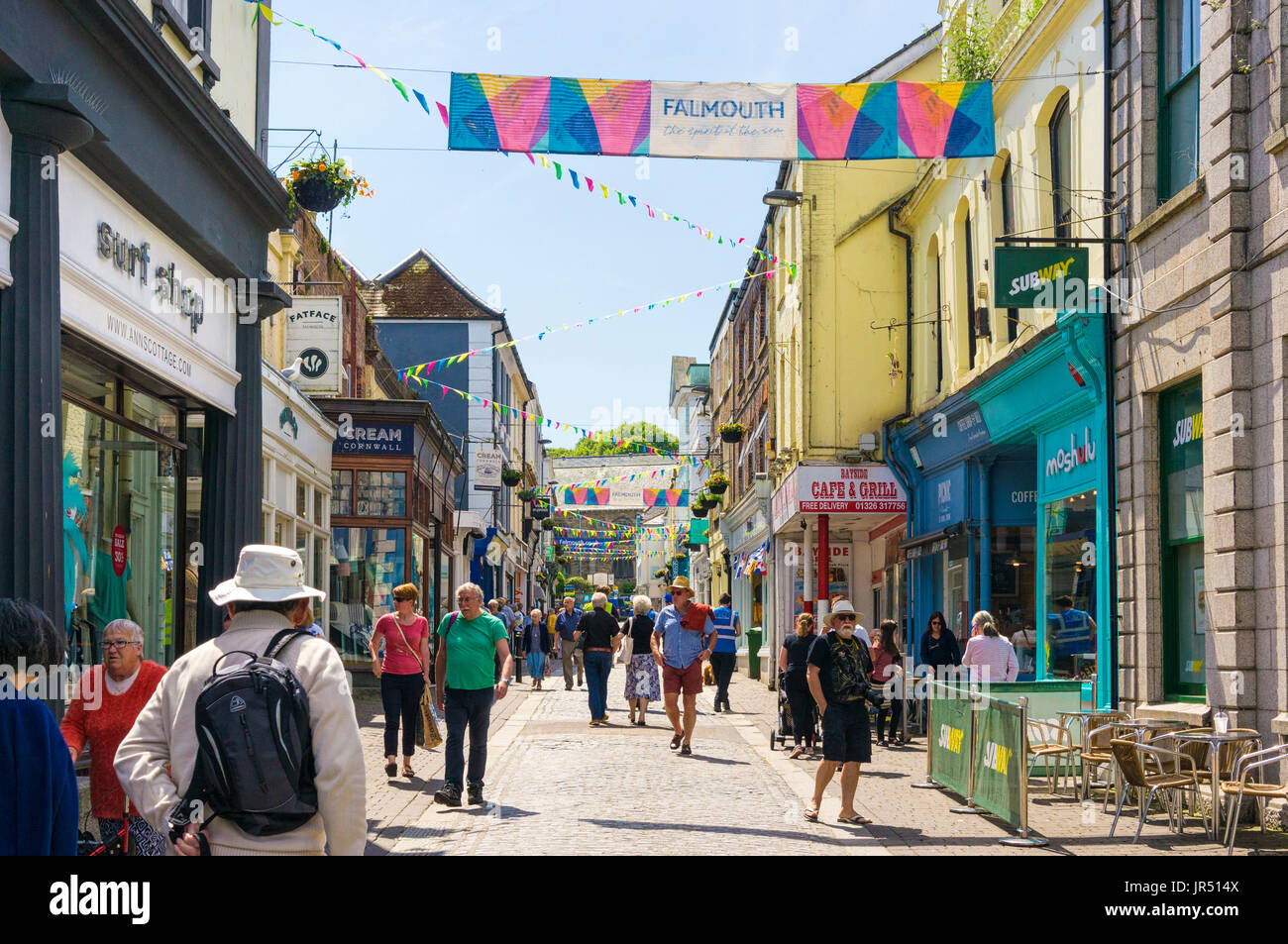Falmouth, Cornwall, UK - Busy town centre shopping street, high street  Falmouth UK in summer - Stock Image