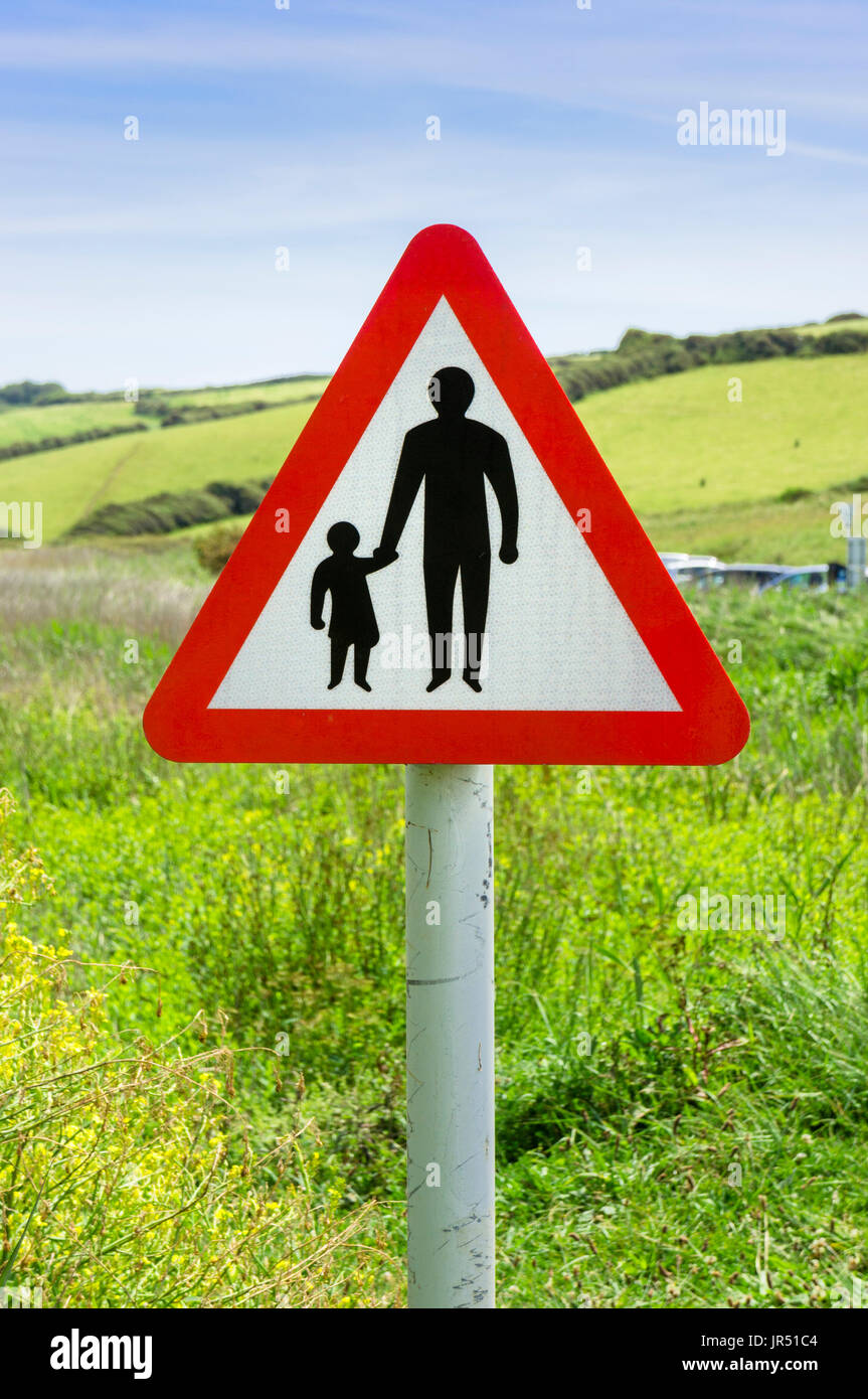 Road safety warning sign for pedestrians crossing in the countryside, England, UK - Stock Image