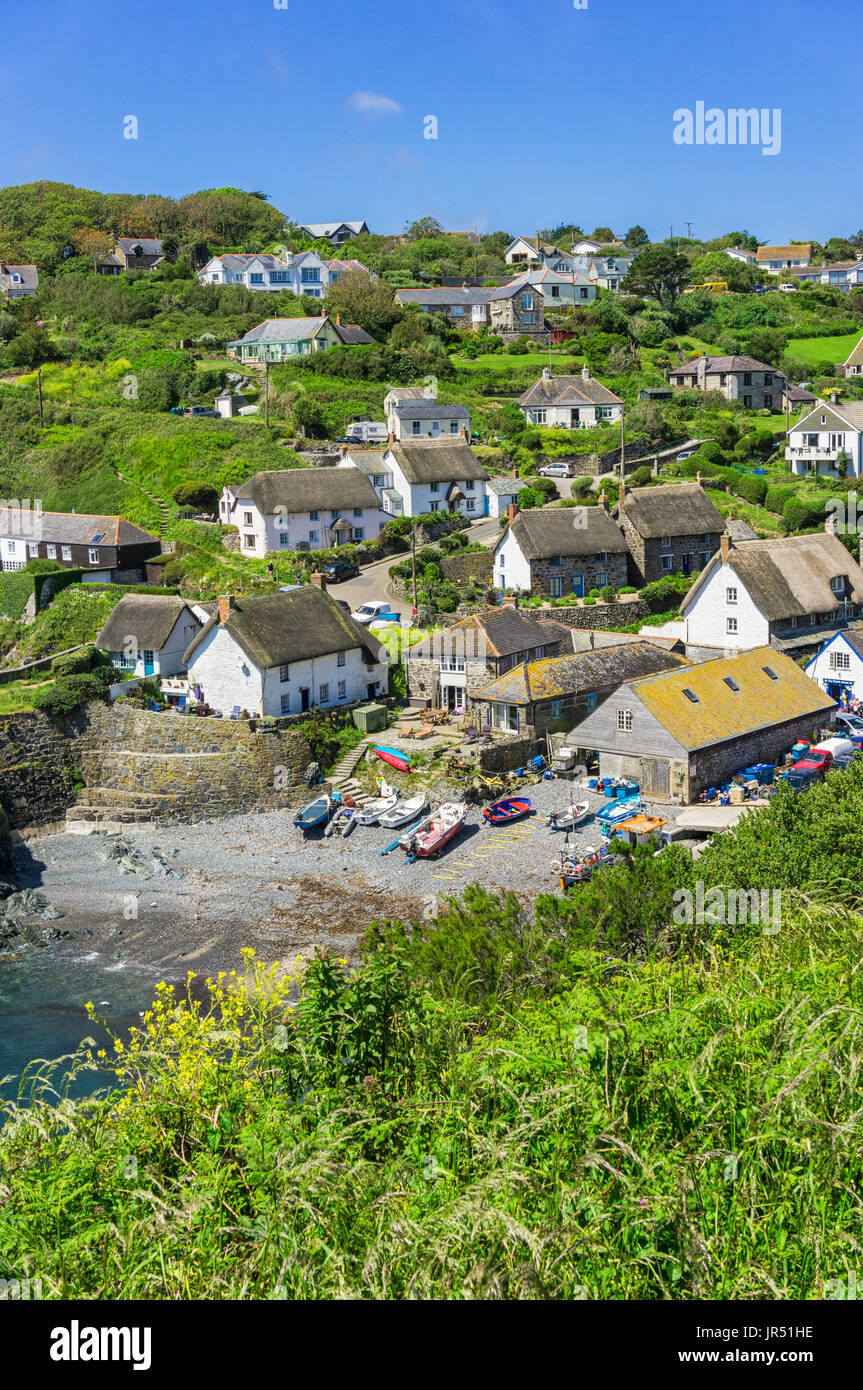 Cadgwith Cove village UK, Lizard Peninsula, Cornwall coast, England, English villages in summer - Stock Image
