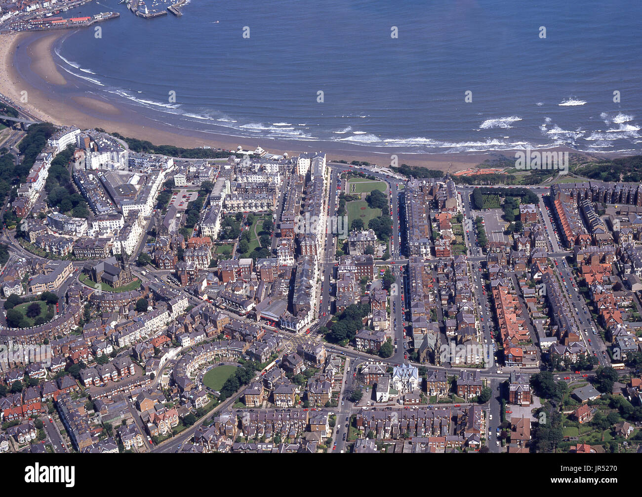 Aerial photo of part of the Scarborough South Cliff area of Scarborough showing the south Bay Beach  and Filey Road - Stock Image