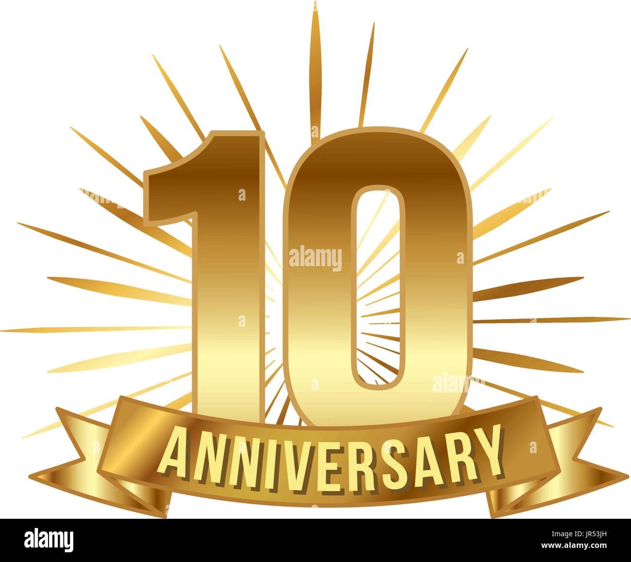 Ten Symbol Years Anniversary Logo Stock Photos Ten Symbol Years