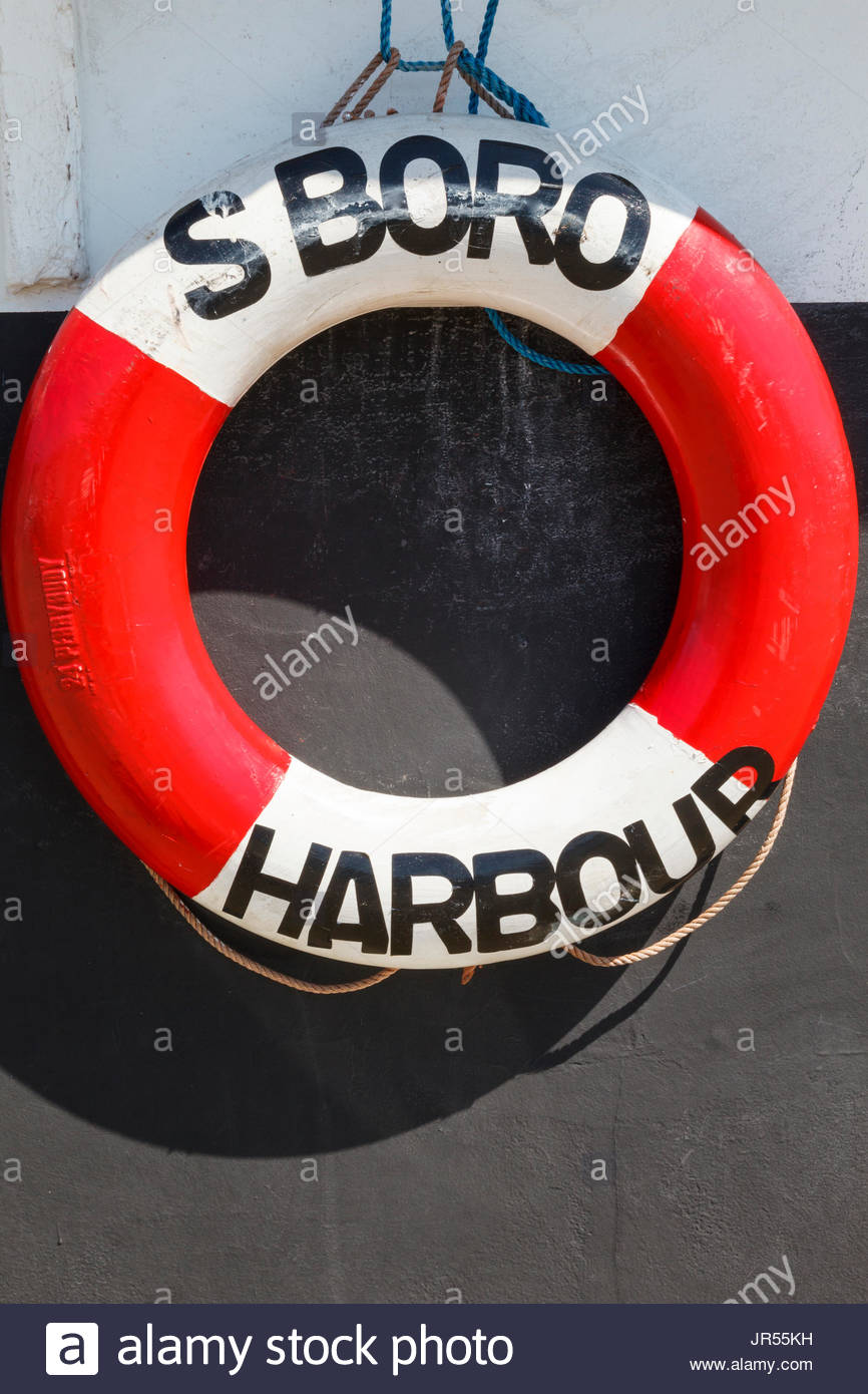 Lifebuoy Scarborough Harbour Scarborough North Yorkshire England UK Stock Photo