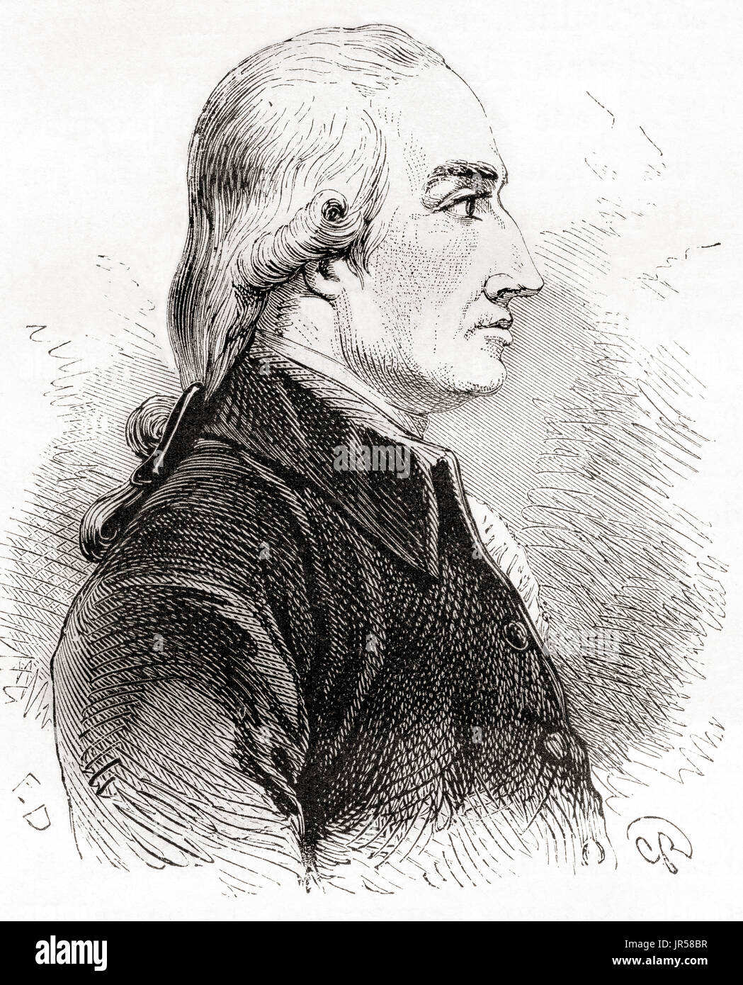 Joseph Black, 1728 – 1799.  Scottish physician and chemist, known for his discoveries of magnesium, latent heat, specific heat, and carbon dioxide.  From Les Merveilles de la Science, published 1870. - Stock Image