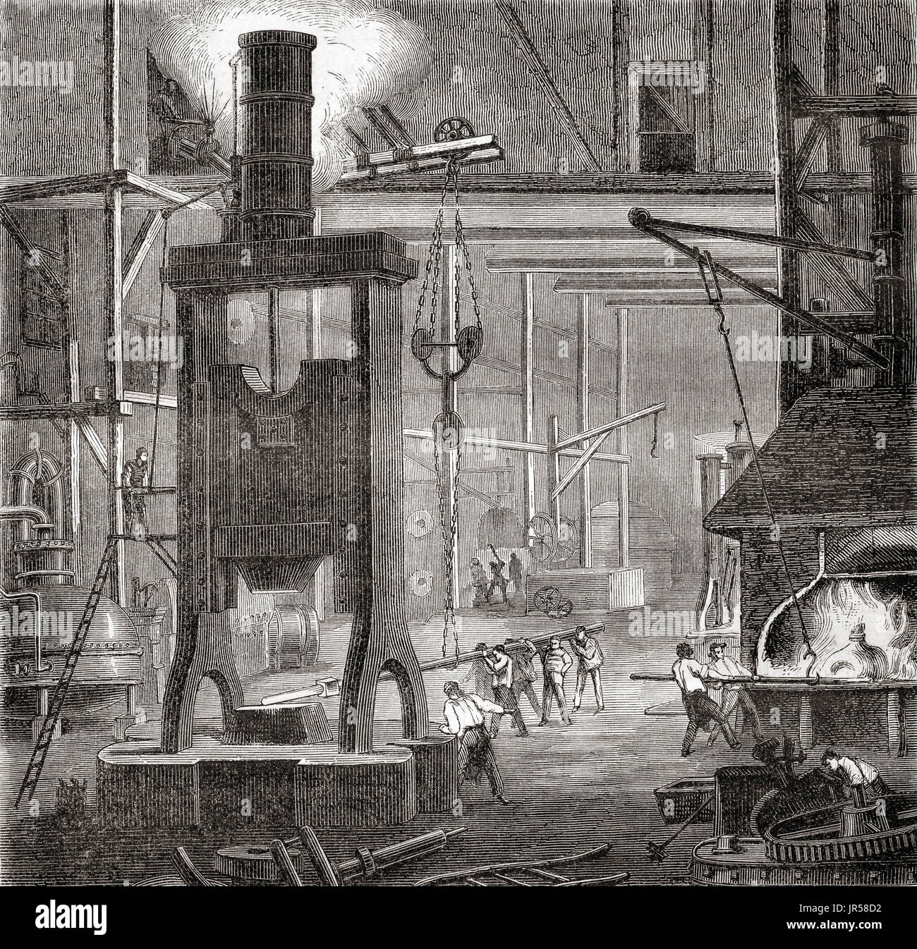 A 19th century steam hammer or drop hammer.  From Les Merveilles de la Science, published 1870. Stock Photo