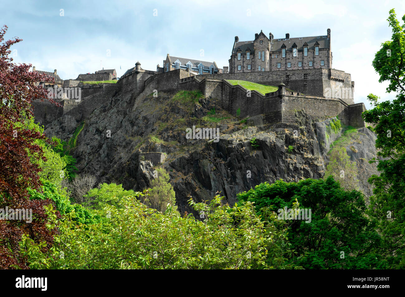 View to Edinburgh Castle, Princes Street Gardens, Edinburgh, Scotland, United Kingdom - Stock Image