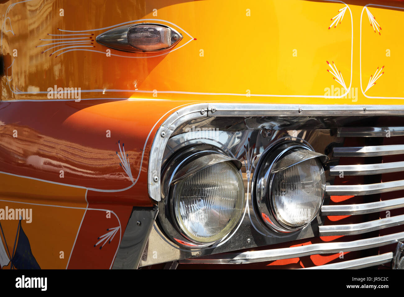 Vintage, canary yellow, iconic bus in Sliema, near Valletta, Malta - Stock Image