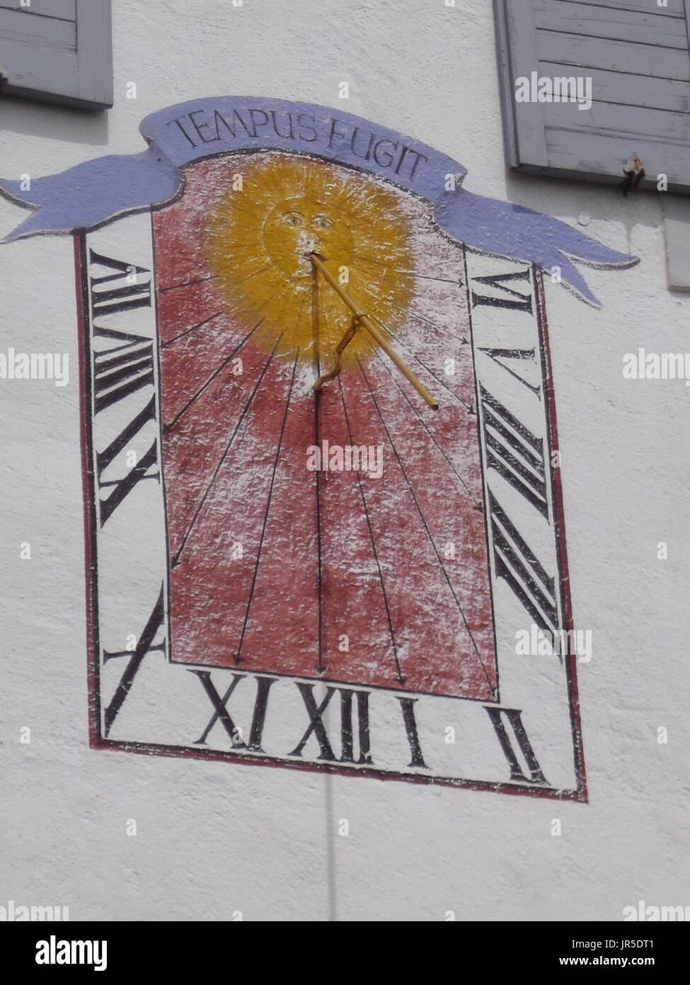 Sundial on a house in Bavaria - Stock Image