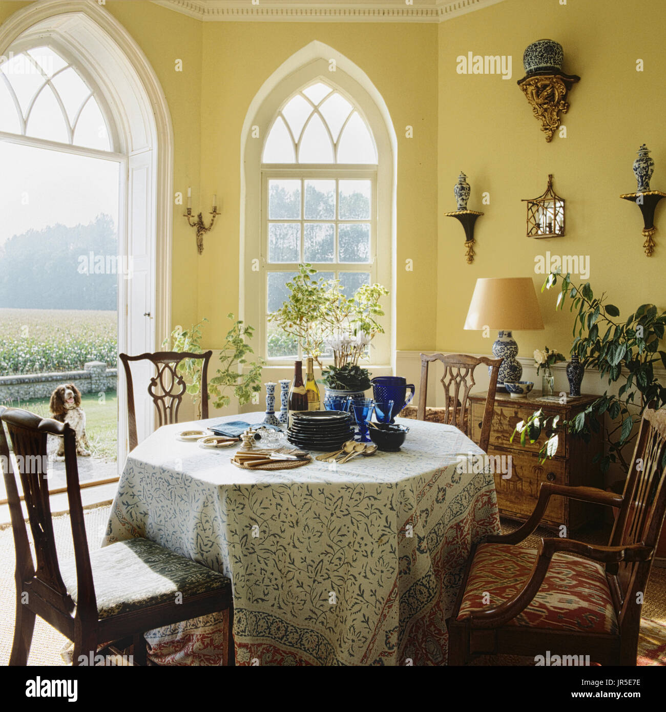 Dining room with gothic style windows Stock Photo: 151940978 ...