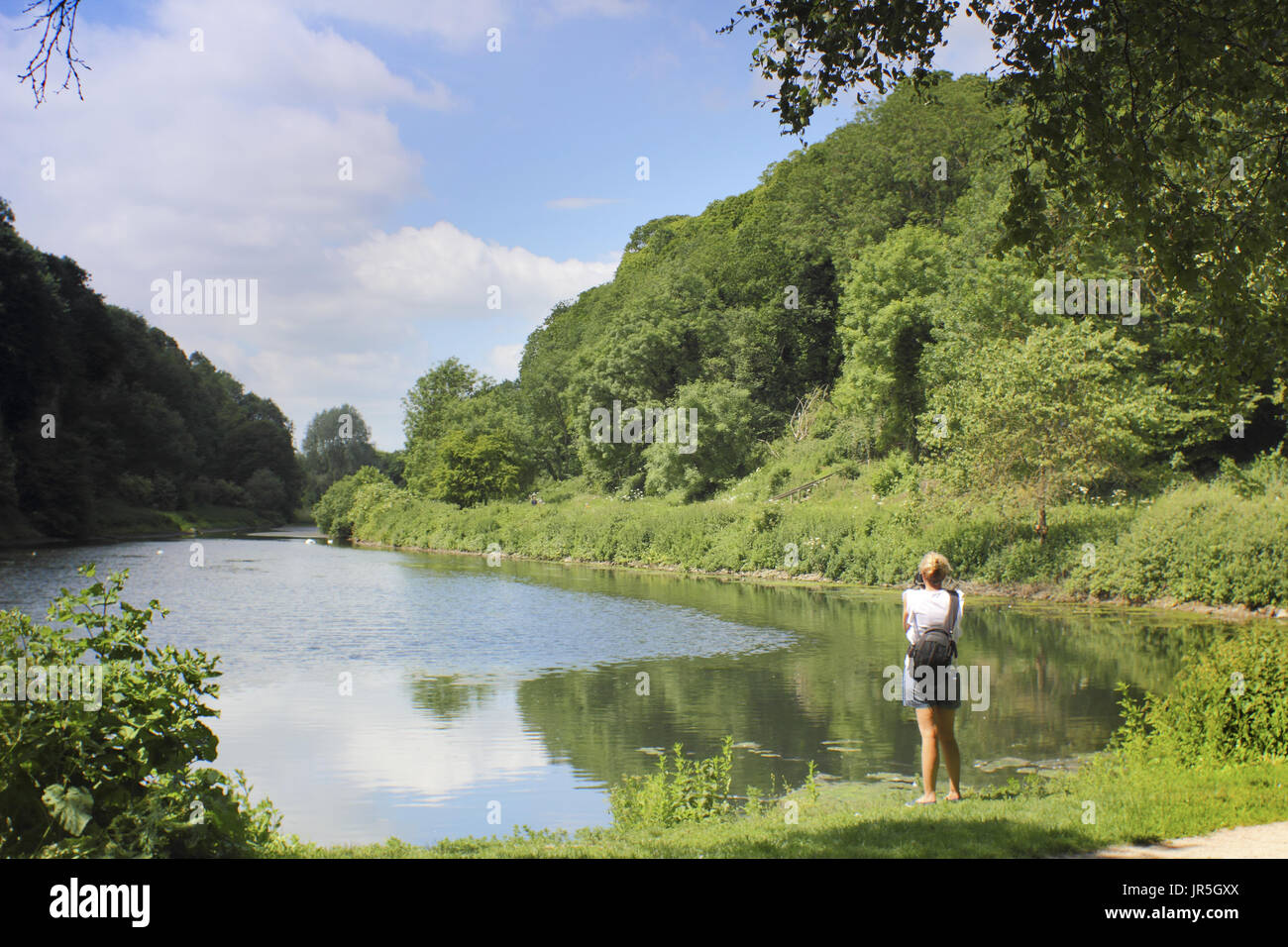 Creswell Crags, a limestone gorge honeycombed with caves of archaeological importance on the border of Derbyshire and Nottinghamshire, England,UK, - Stock Image