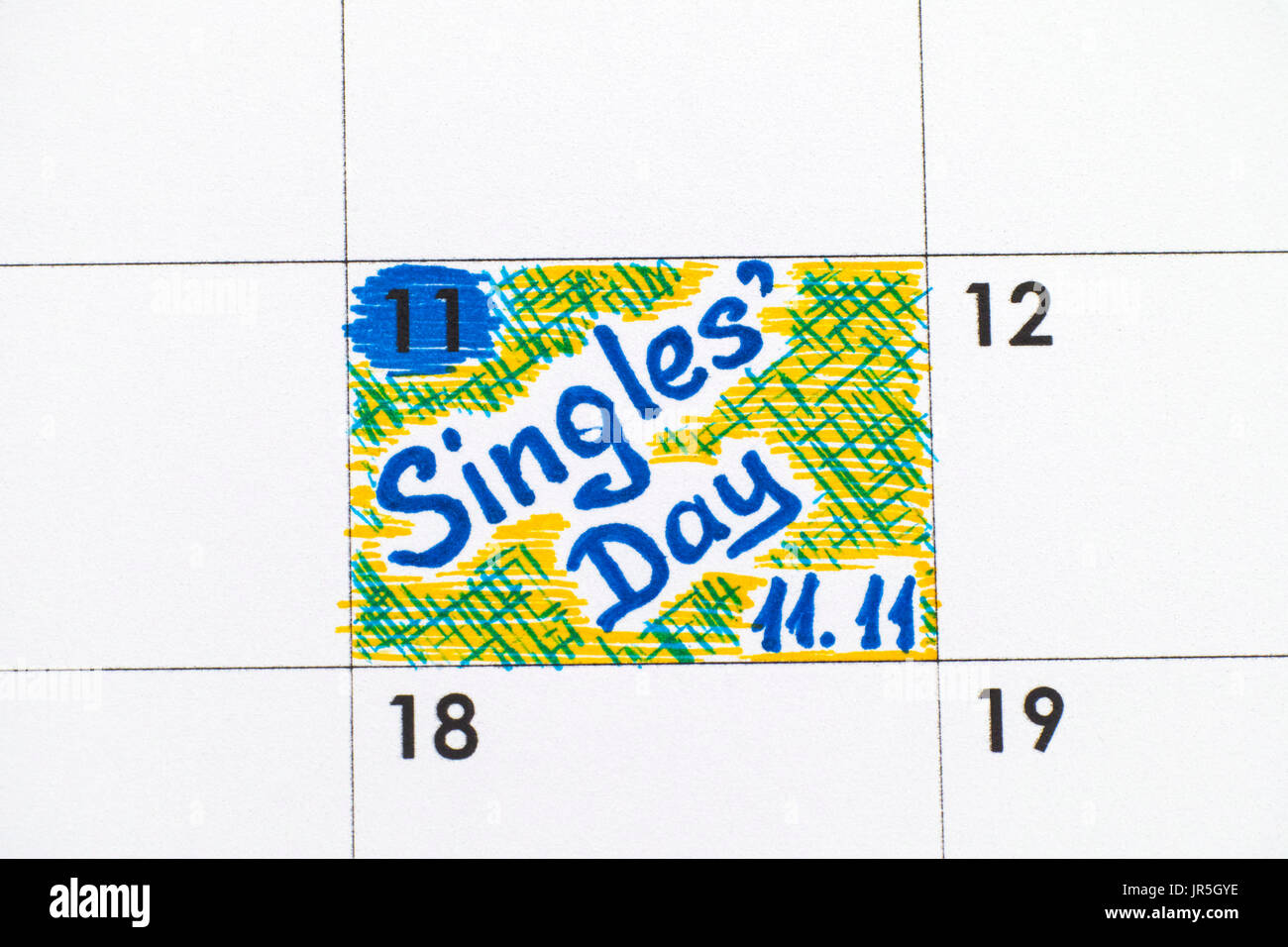 Reminder Singles Day 11.11 in calendar. Close-up. - Stock Image