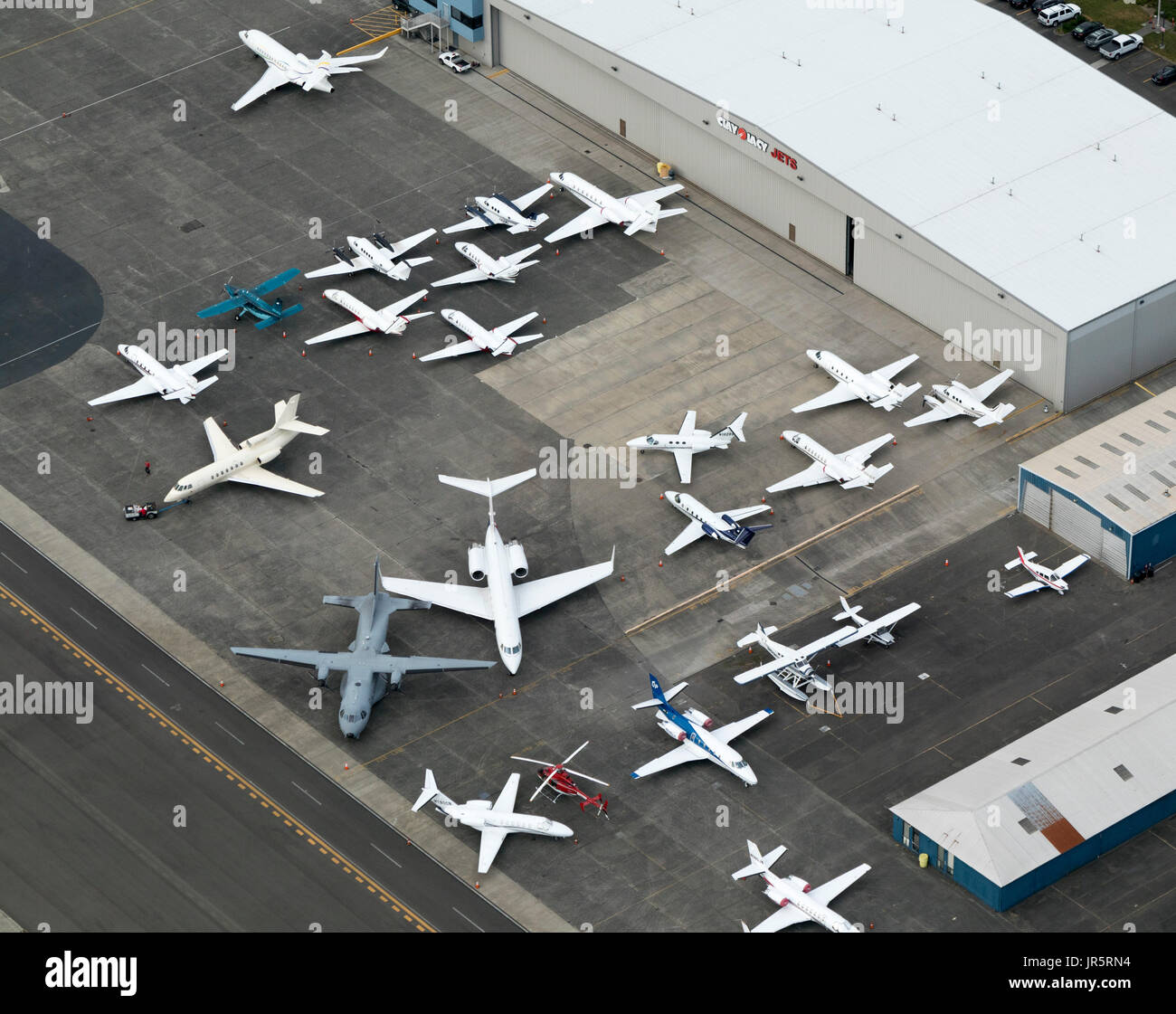 aerial view of private jets outside Clay Lacy Aviation hangar, Boeing Field, Seattle, Washington State, USA Stock Photo