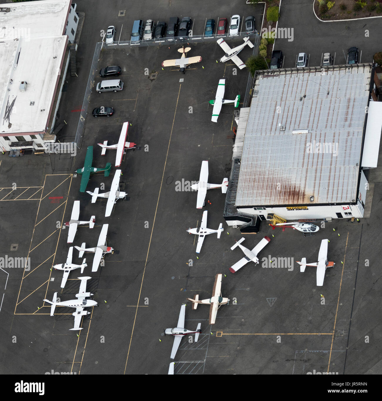 aerial view of private propellor planes at Boeing Field, Seattle, Washington State, USA - Stock Image