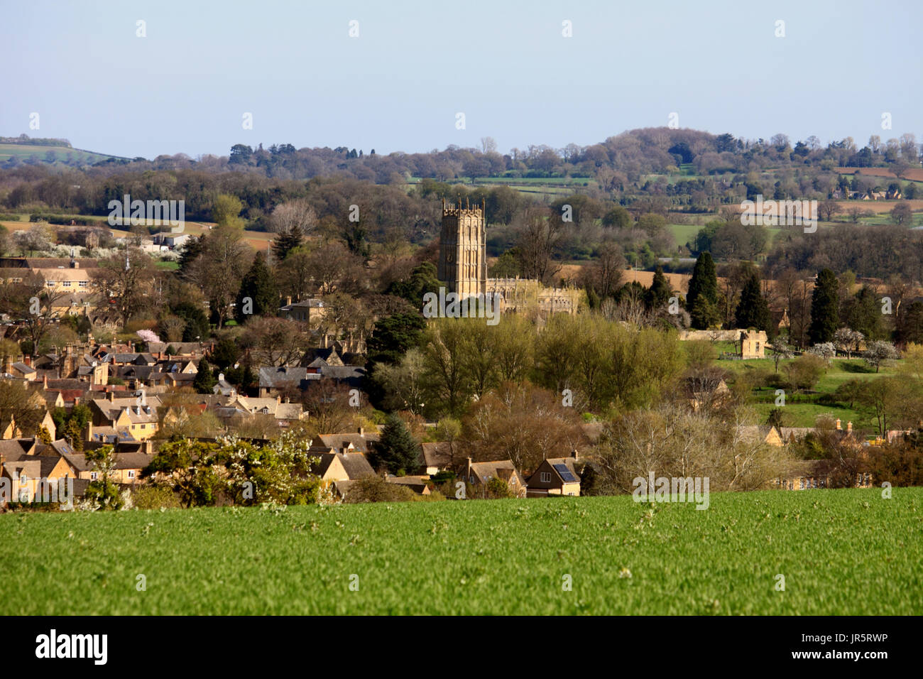 The wool church of St James dominates this view of Chipping Campden in Gloucestershire. - Stock Image