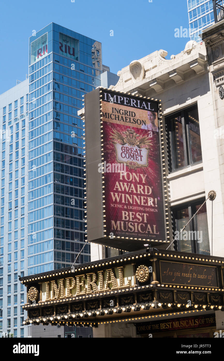 The Imperial Theater Facade and Marquee, Times Square, NYC, USA Stock Photo
