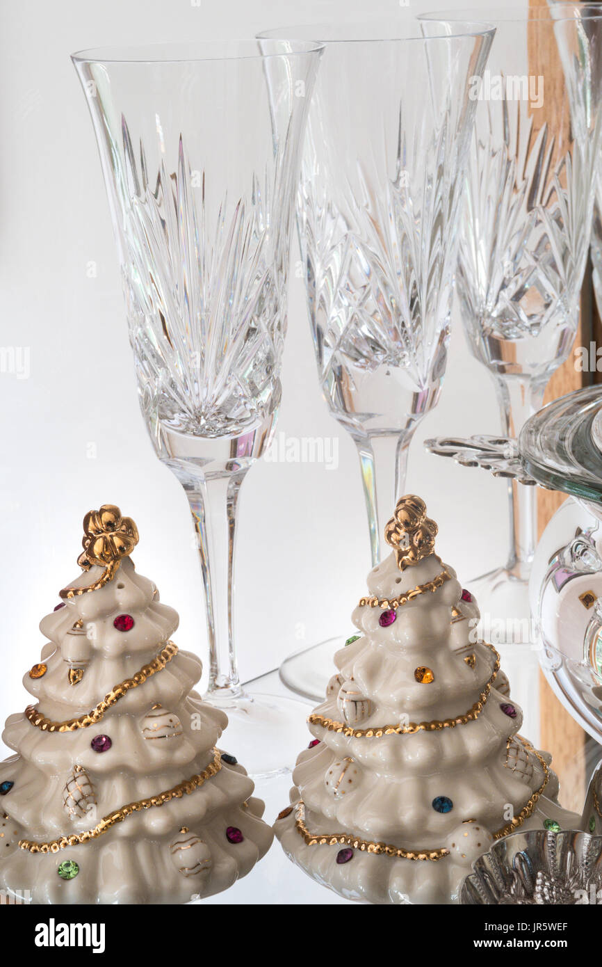 Still Life Crystal Flutes and China Pieces, USA - Stock Image