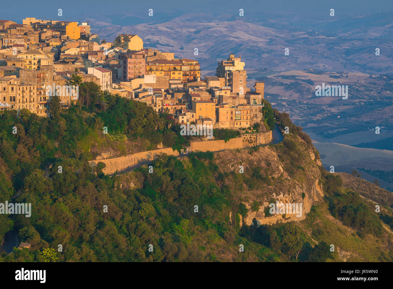 Enna Sicily, sunrise on the city of Enna, sited at the highest point in the centre of the island of Sicily. - Stock Image