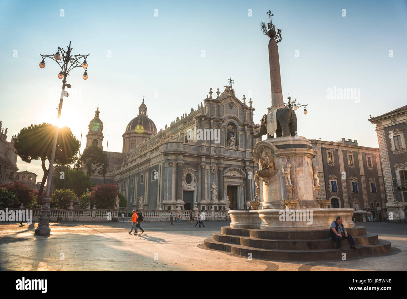 Catania Sicily piazza, the Piazza del Duomo with the elephant fountain (Fontana dell'Elefante) sited at the centre of the city of Catania, Sicily. - Stock Image
