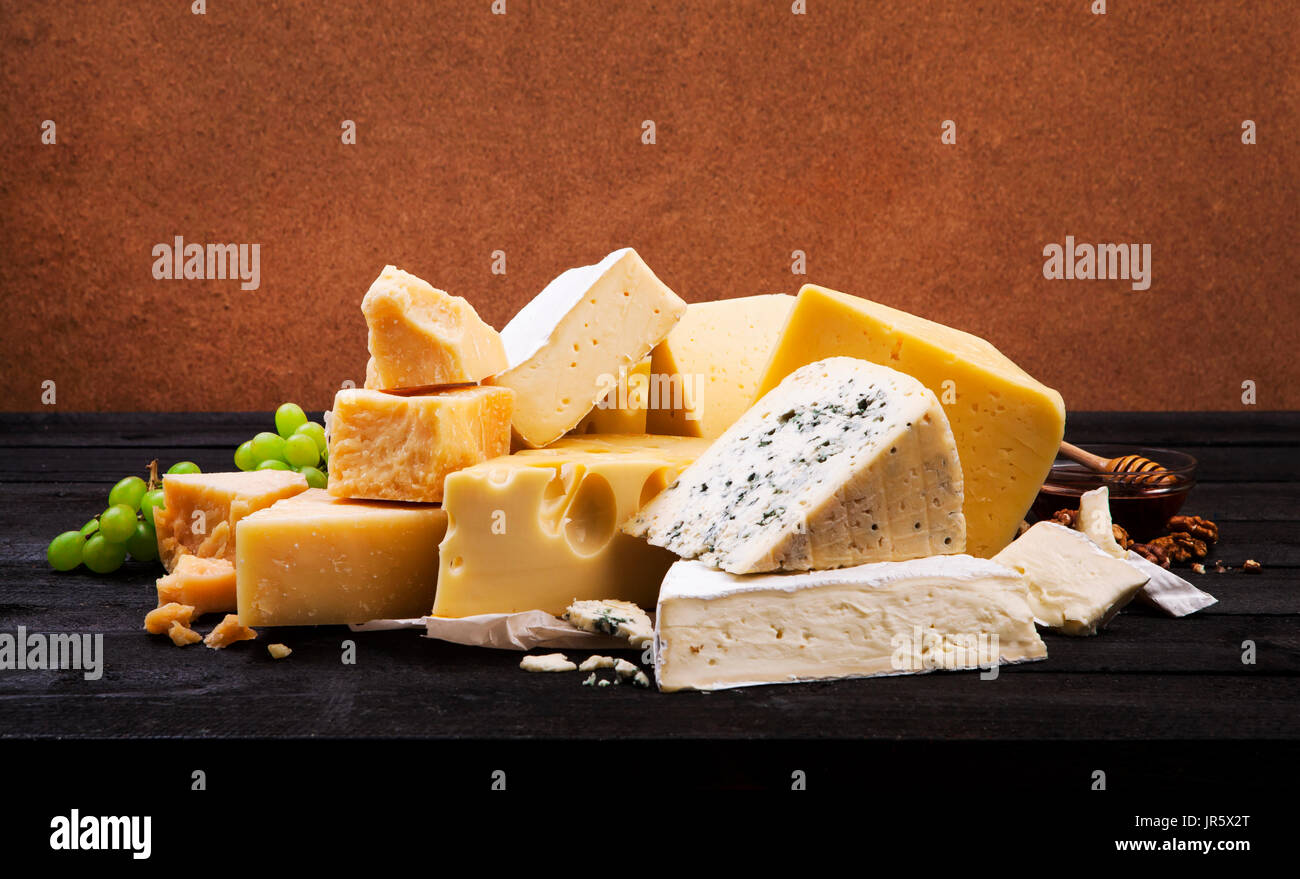 Group of various cheeses - Stock Image