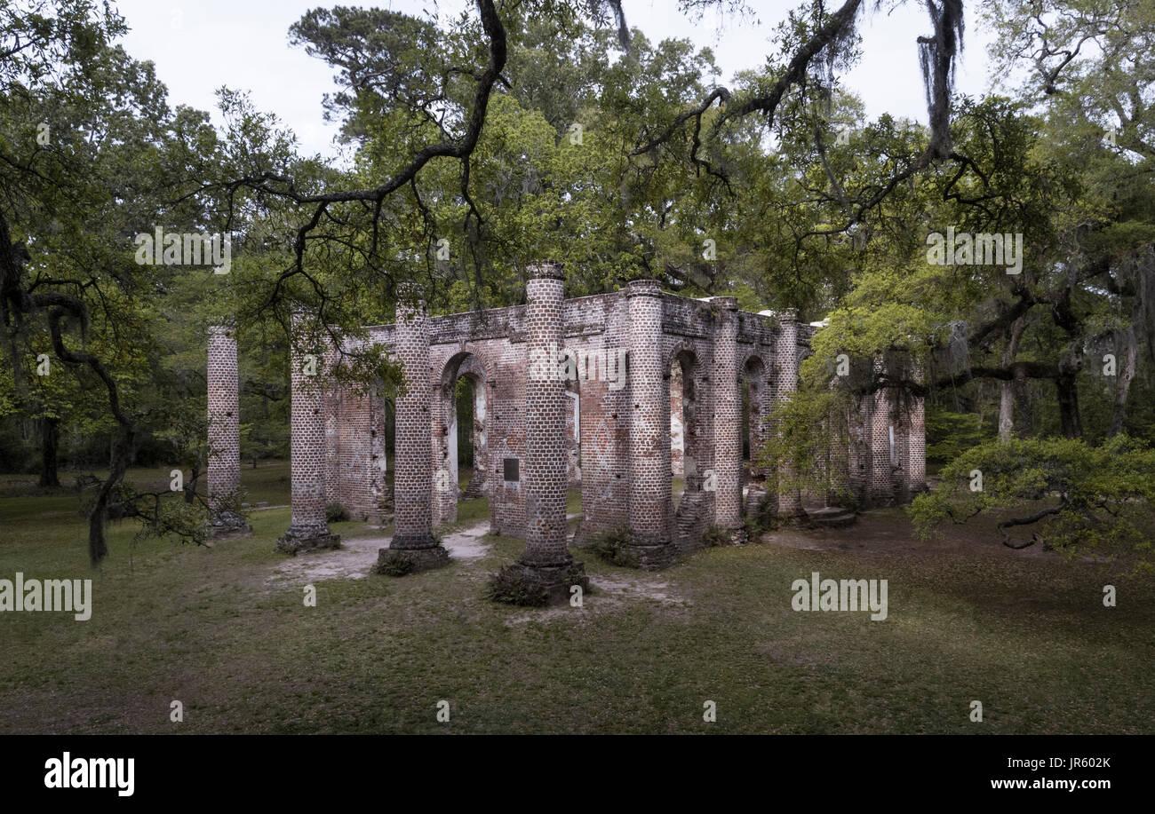 Old Sheldon Church Ruins - Stock Image