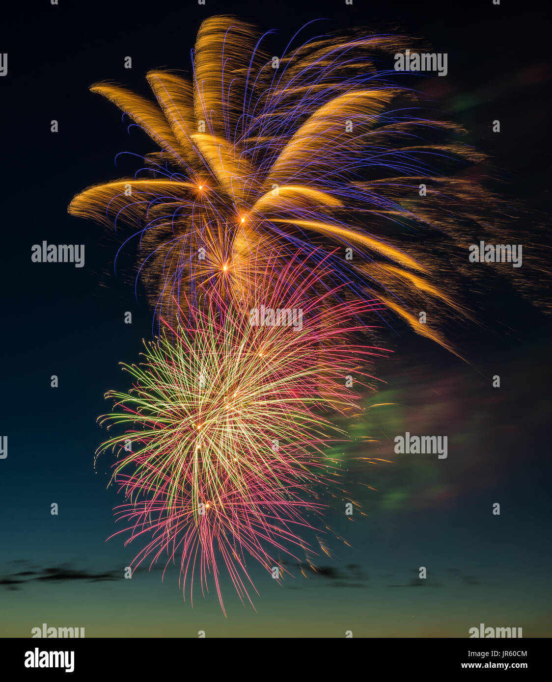 Canada's 150th. anniversary was celebrated by a spectacular fireworks display in Barrie, Ontario, Canada on July 1, 2017. - Stock Image