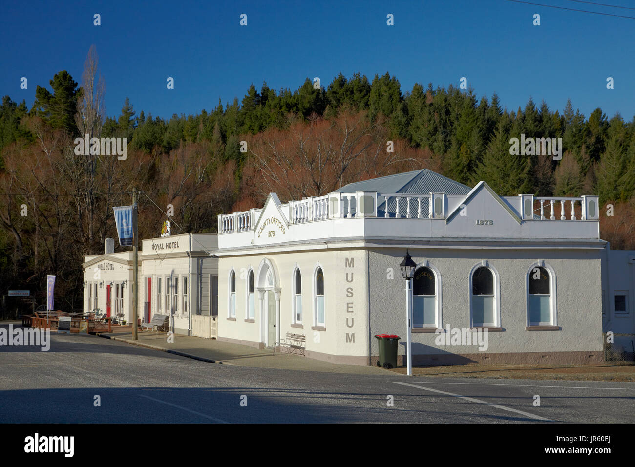 Maniototo County Council Offices (1878), and Royal Hotel (1878), Naseby, Maniototo, Central Otago, South Island, New Zealand - Stock Image