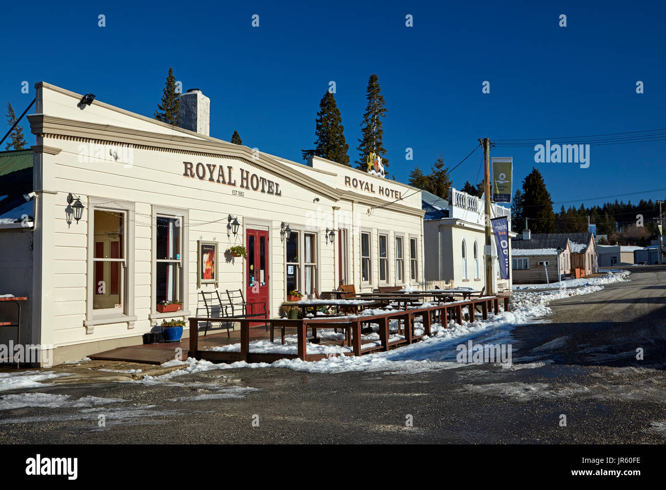 Royal Hotel (1878), and Maniototo County Council Offices (1878), in winter, Naseby, Maniototo, Central Otago, South Island, New Zealand - Stock Image