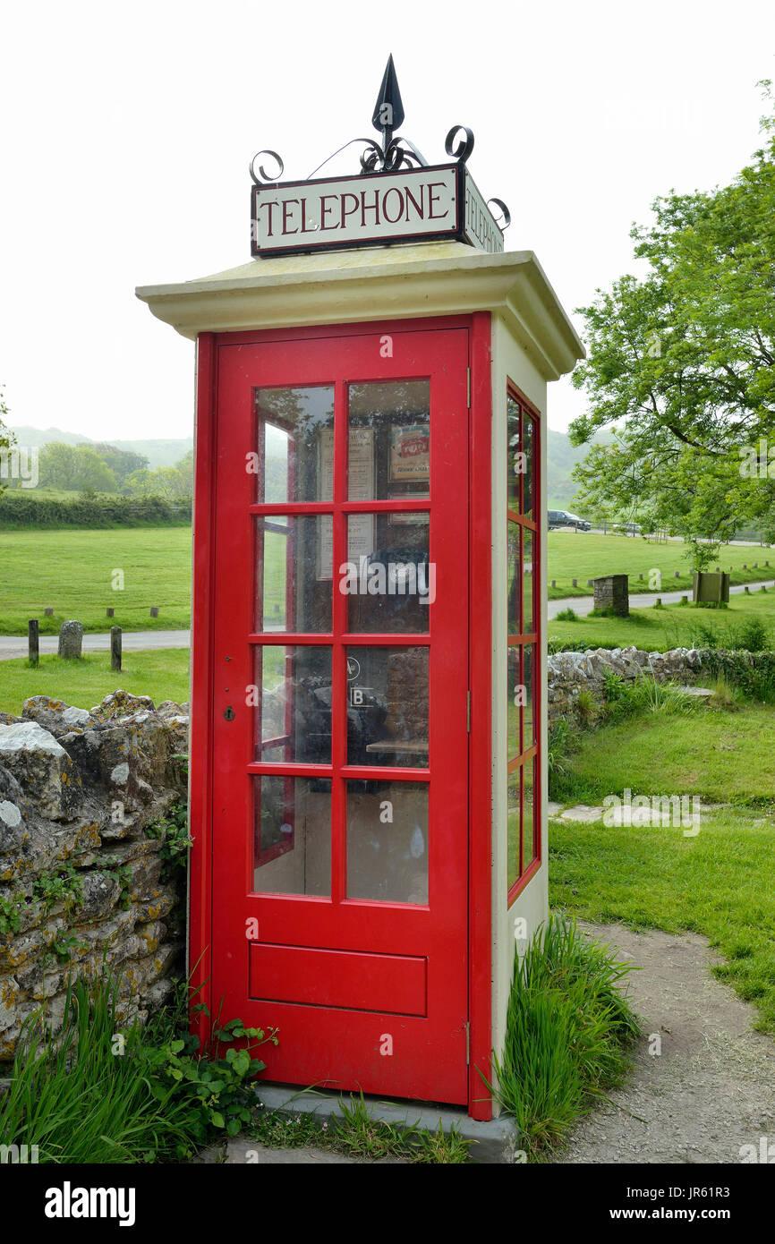 Restored K1 Mark 236 Telephone Box Restored Wartime Telephone Kiosk, Tyneham, Dorset - Stock Image