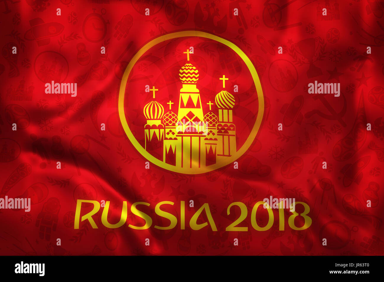 World  Football 2018 Russia Tournament Symbal on a Red Wrinkled Flag - Stock Image