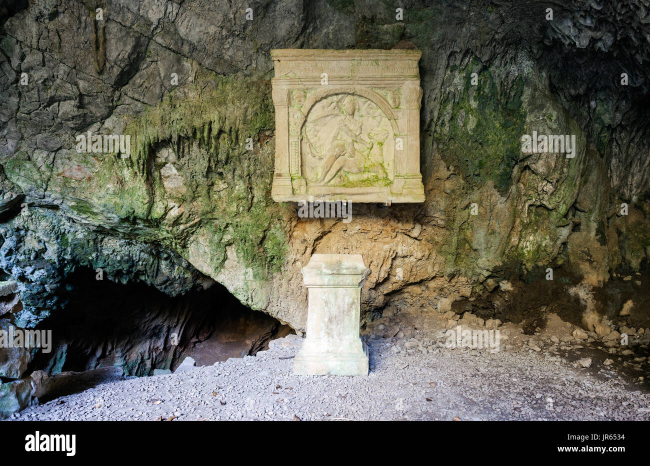 The Duino Mithraeum in the province of Trieste. Mithraea were places of worship for the followers of the Roman mystery religion known as the Mithraic  - Stock Image