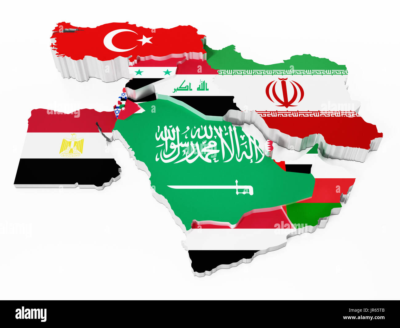 Middle East countries covered with country flags. 3D illustration. - Stock Image