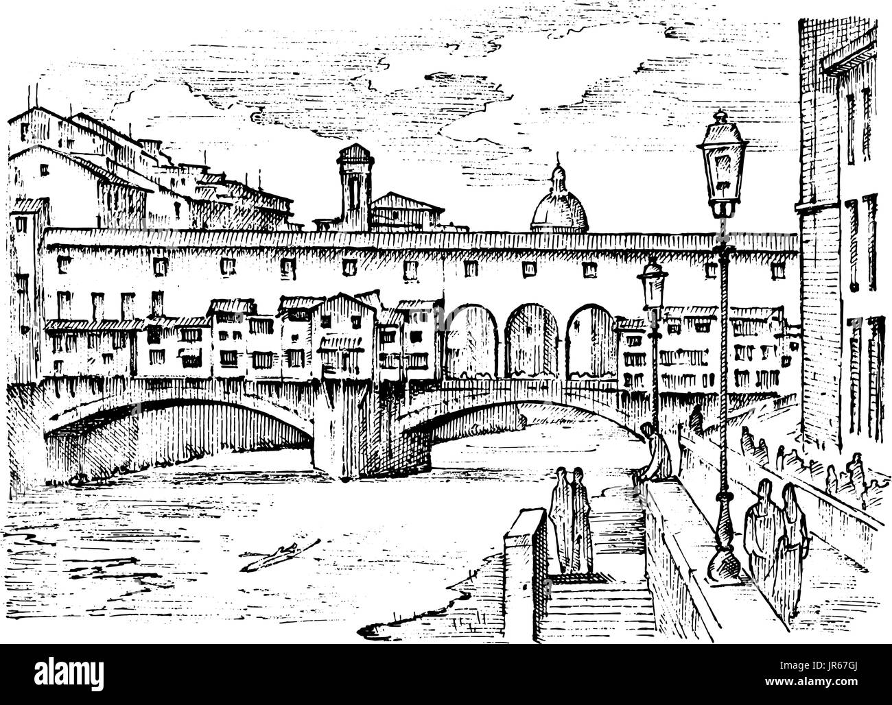 landscape in European town Florence in Italy. engraved hand drawn in old sketch and vintage style. historical architecture with buildings, perspective view. Travel postcard. Ponte Vecchio bridge. - Stock Image