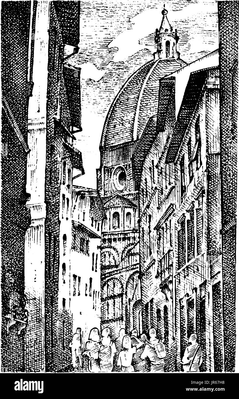 landscape in European town Florence in Italy . engraved hand drawn in old sketch and vintage style. historical architecture with buildings, perspective view. Travel postcard. Santa Maria del Fiore. - Stock Image