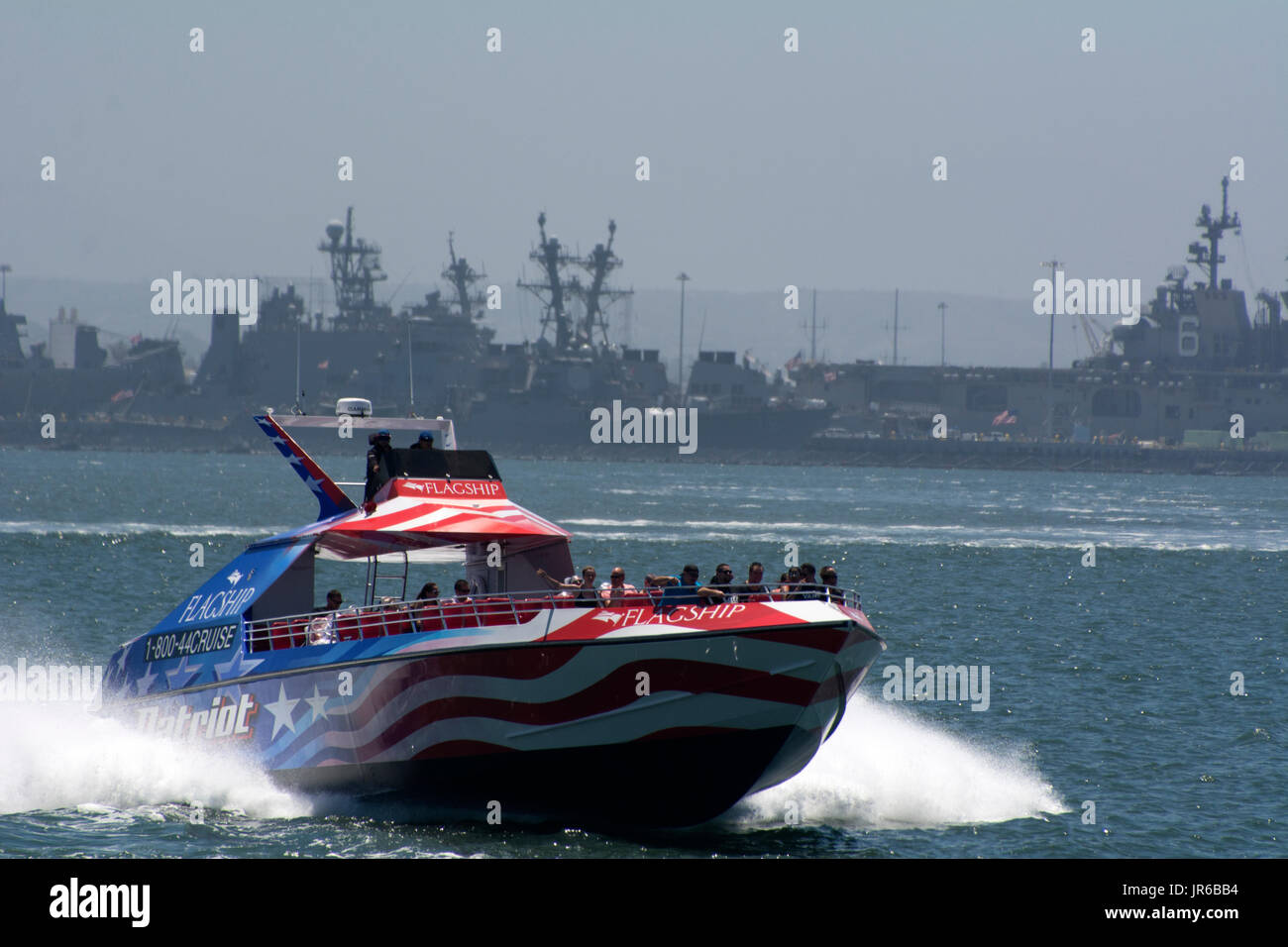 The Patriot Jet Boat owned by Flagship Cruises in San Diego Bay, California - Stock Image