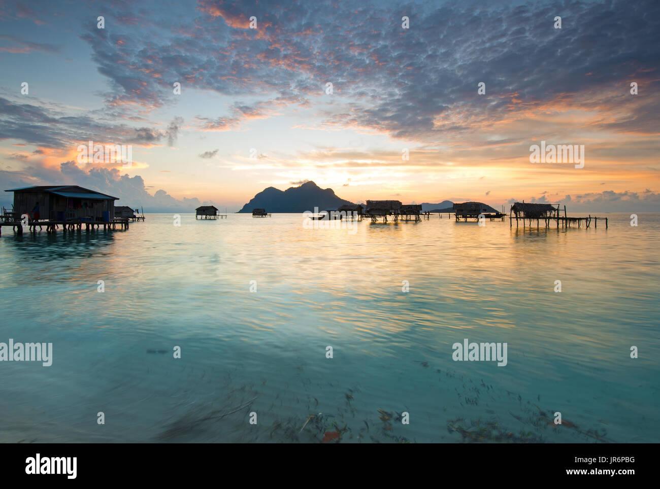 Beautiful sunrise in Tun Sakaran Marine Park, Semporna, Sabah Borneo, Malaysia. - Stock Image