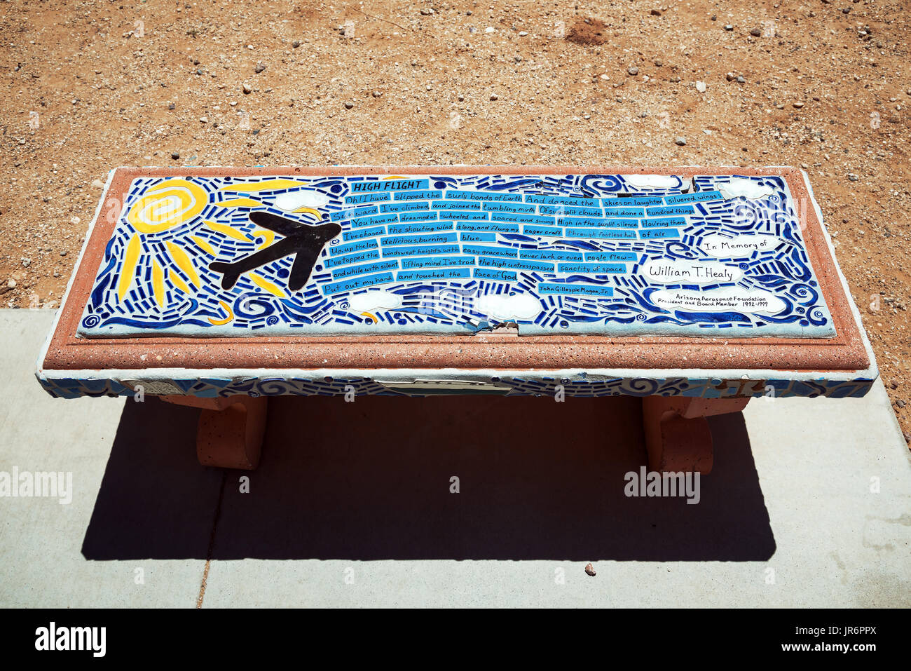 Original colorful bench from Arizona  aerospace foundation, Pima Air & Space Museum - largest non-government funded aviation and space museums in the  - Stock Image